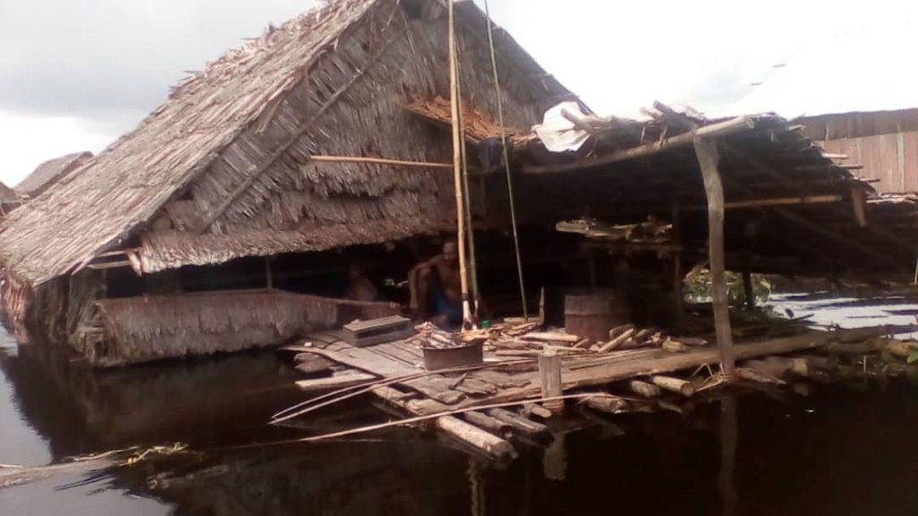 Stilt Houses flooded to roof level