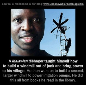 Malawian teenager builds windmills from scraps